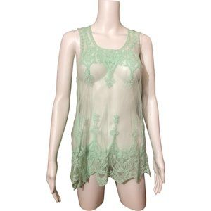 Eclipse Green Netted Lacy Sheer Tank Top